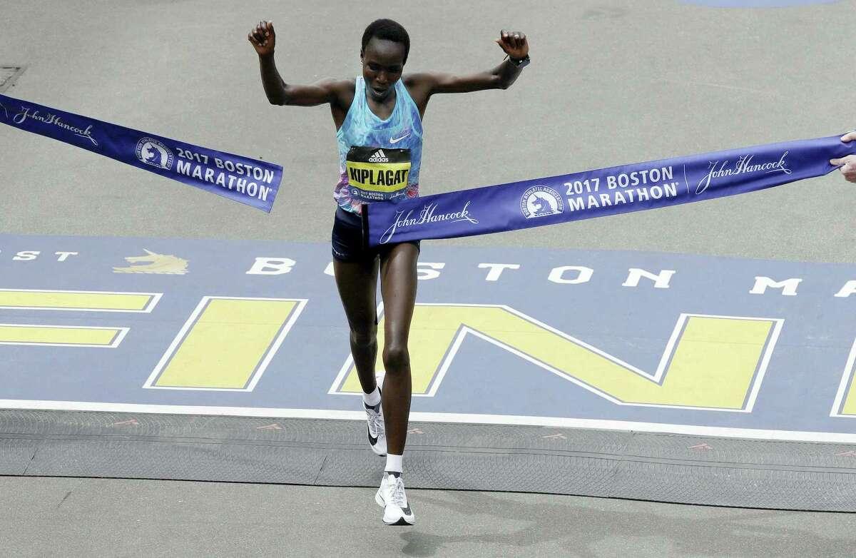 Edna Kiplagat of Kenya,wins the women's division of the 121st Boston Marathon on April 17, 2017 in Boston.