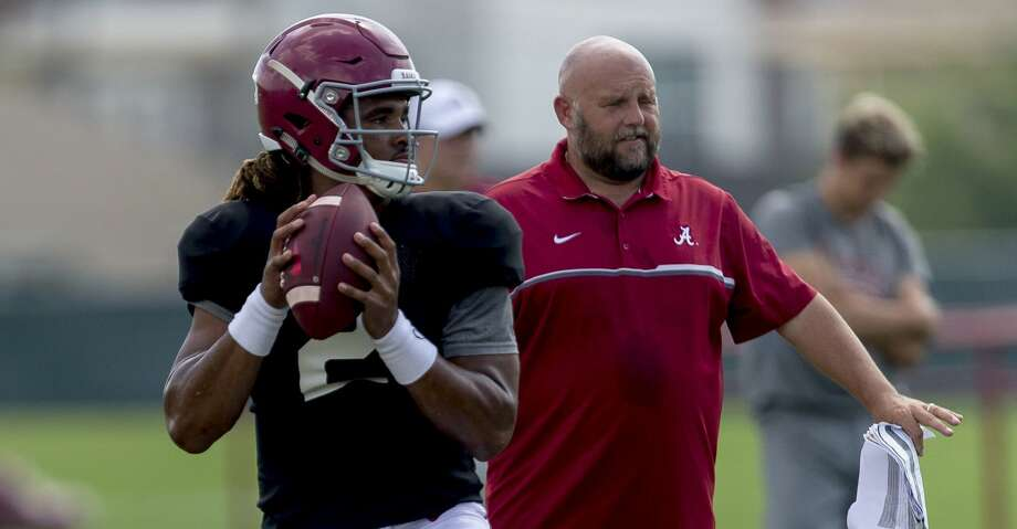 Alabama quarterback Jalen Hurts (2) works through drills during Alabama's football practice, Tuesday, Aug. 22, 2017, in Tuscaloosa, Ala. (Vasha Hunt/AL.com via AP) Photo: Vasha Hunt/Associated Press
