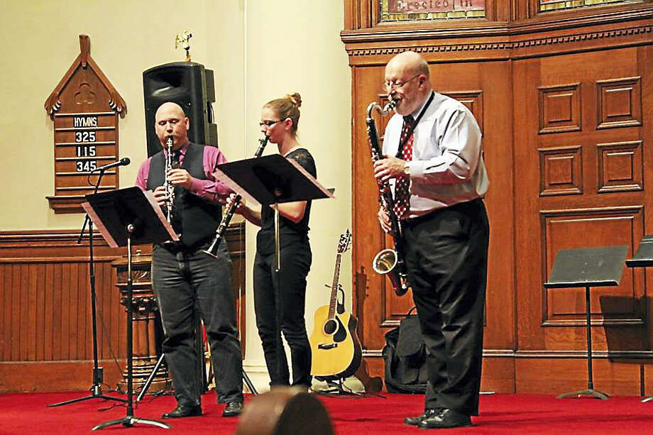 Contributed photoThe Rivertones' Cindy Rines, Debbie Storrs, Karl Gallmeyer and Willard Minton will again perform at the Second Congregational Church of Winsted's Harmony for Hunger concert on Saturday, April 29. Photo: Digital First Media