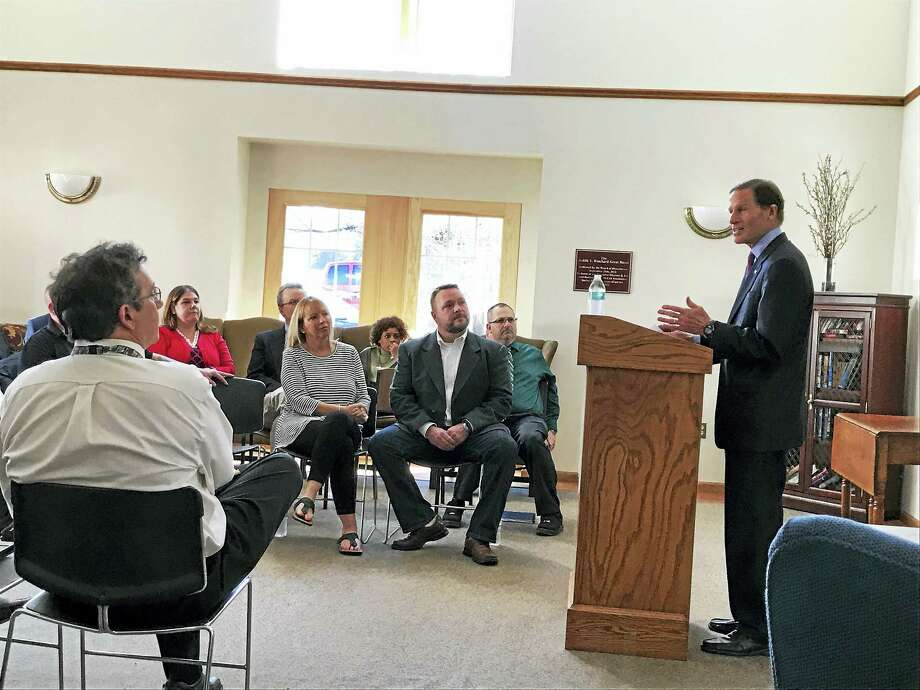 Contributed photos U.S. Sen. Richard Blumenthal visited the McCall Center for Behavioral Health on Friday to discuss the Affordable Care Act and what would happen to such facilities' patients if it is repealed. Photo: Digital First Media