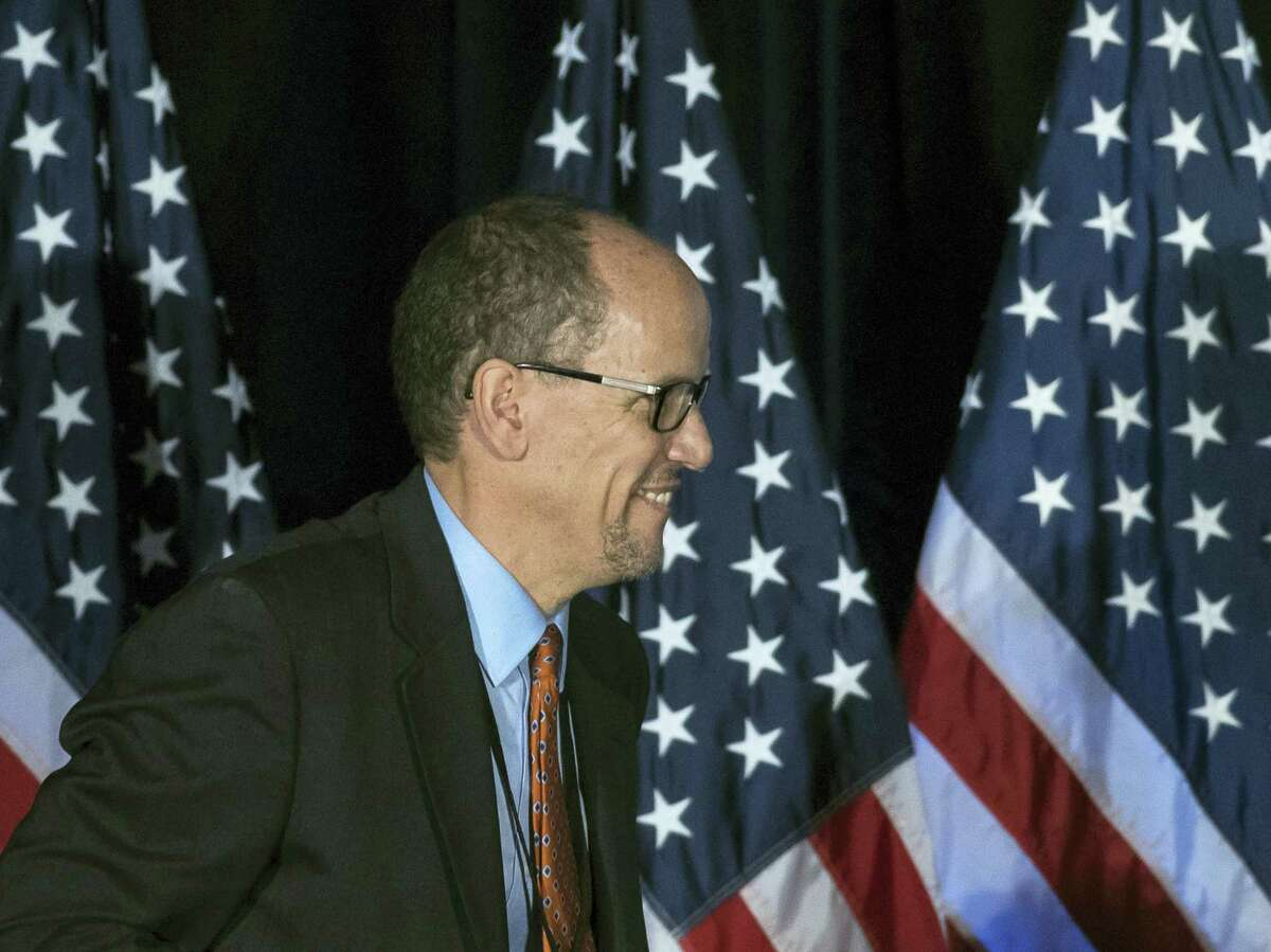 Former Labor Secretary Tom Perez and newly elected leader of the Democratic National Committee, before speaking during the general session of the DNC winter meeting in Atlanta on Feb. 25, 2017.