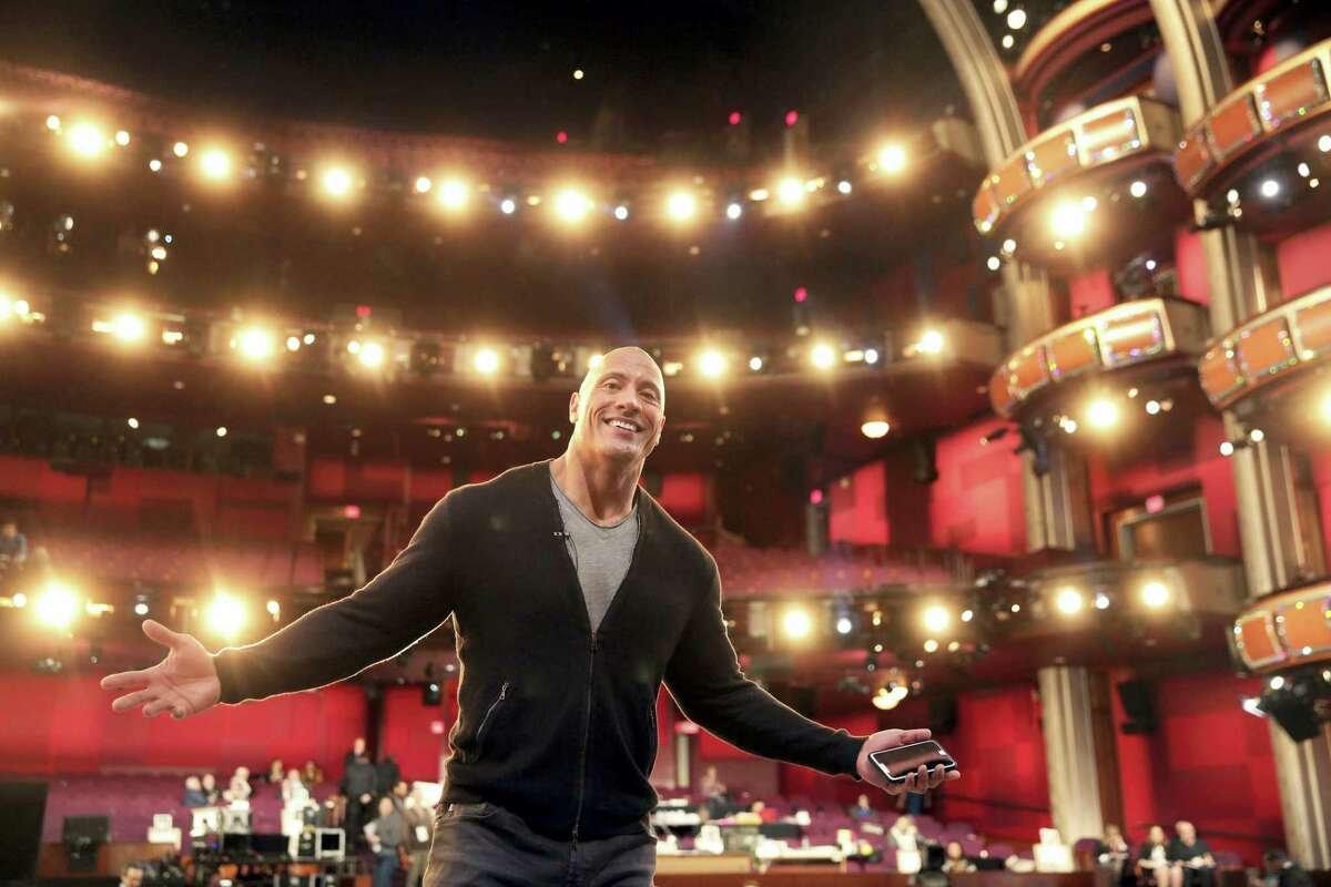 Dwayne Johnson appears during a rehearsal for the 89th Academy Awards on Feb. 25, 2017. The Academy Awards will be held at the Dolby Theatre on Sunday.