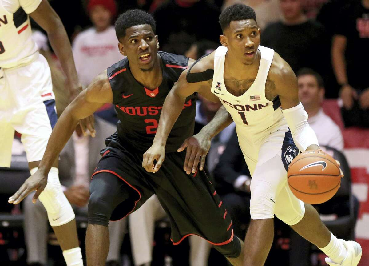 Guard Christian Vital (1) and the UConn men's basketball team takes on SMU on Saturday.
