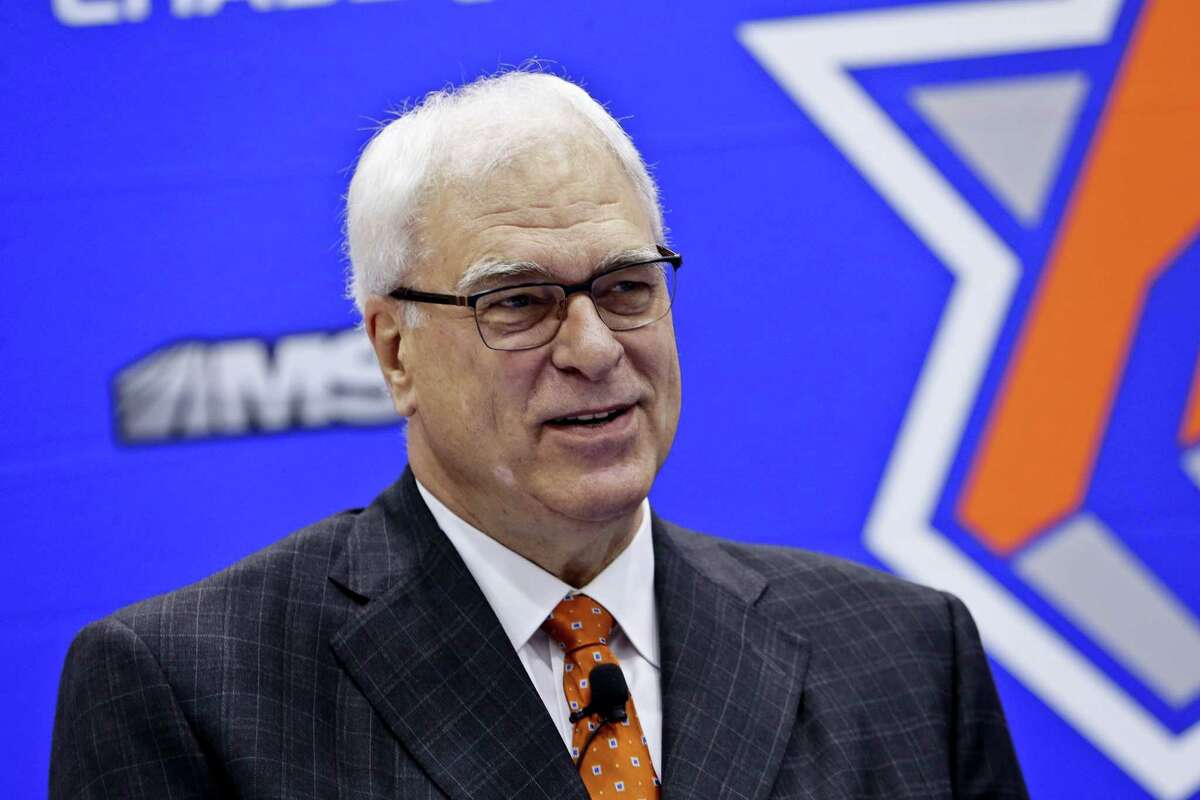 In this file photo, New York Knicks president Phil Jackson, responds to questions during an NBA basketball news conference to announce the hiring of Jeff Hornacek as the head coach in Tarrytown, N.Y. Jackson has made his relationship with Carmelo Anthony worse and hasn't made the Knicks better. Heading into the trade deadline and nearly three years since he was hired, there are questions if the guy who could do little wrong as a record-setting coach will ever get it right as an executive.
