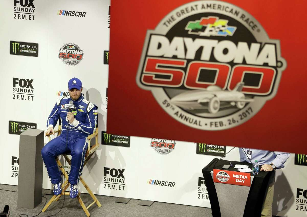 Dale Earnhardt Jr. answers questions during a news conference at NASCAR Daytona 500 media day at Daytona International Speedway on Feb. 22, 2017 in Daytona Beach, Fla.