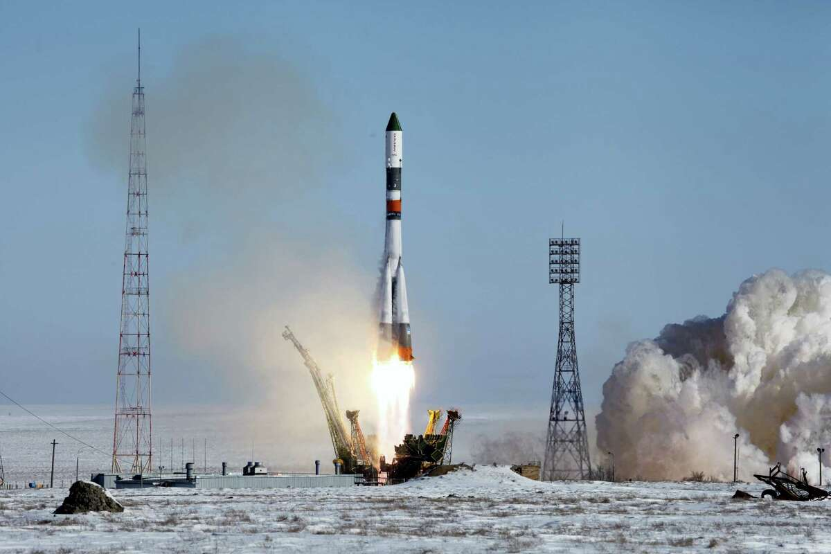 In this photo provided by the Russian Space Agency (Roscosmos) press service, a Soyuz-U booster rocket carrying the Progress MS-05 spacecraft blasts off from the Russian-leased Baikonur Cosmodrome in Kazakhstan on Feb. 22, 2017. The unmanned Russian cargo ship lifted off successfully Wednesday on a supply mission to the International Space Station.