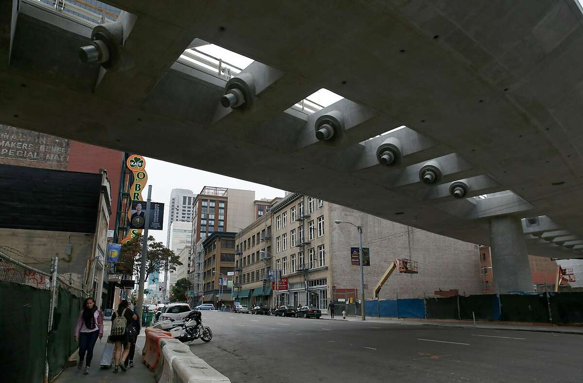 View of the underside of the new bus bridge at Transbay Transit Center soon to be completed on Thursday, August 24, 2017, in San Francisco, Calif.