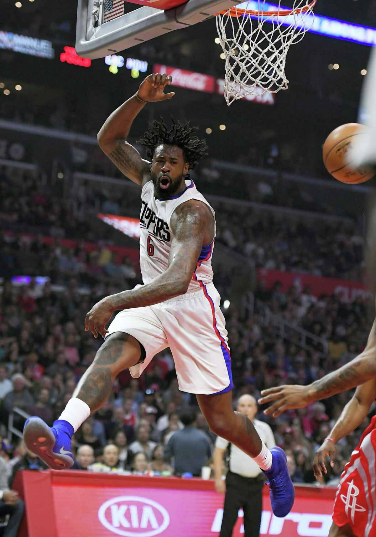 Los Angeles Clippers center DeAndre Jordan loses control of the ball during the first half of an NBA basketball game against the Houston Rockets on April 10, 2017 in Los Angeles.
