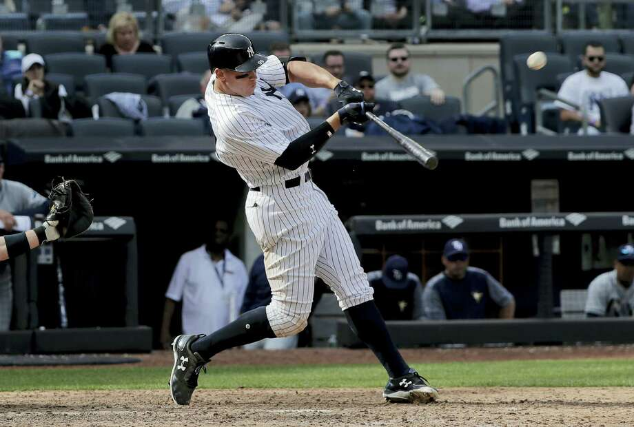 New York Yankees' Aaron Judge connects for a two-run home run against the Tampa Bay Rays during the seventh inning of a baseball game, Wednesday, April 12, 2017, in New York. (AP Photo/Julie Jacobson) Photo: AP / Copyright 2017 The Associated Press. All rights reserved.