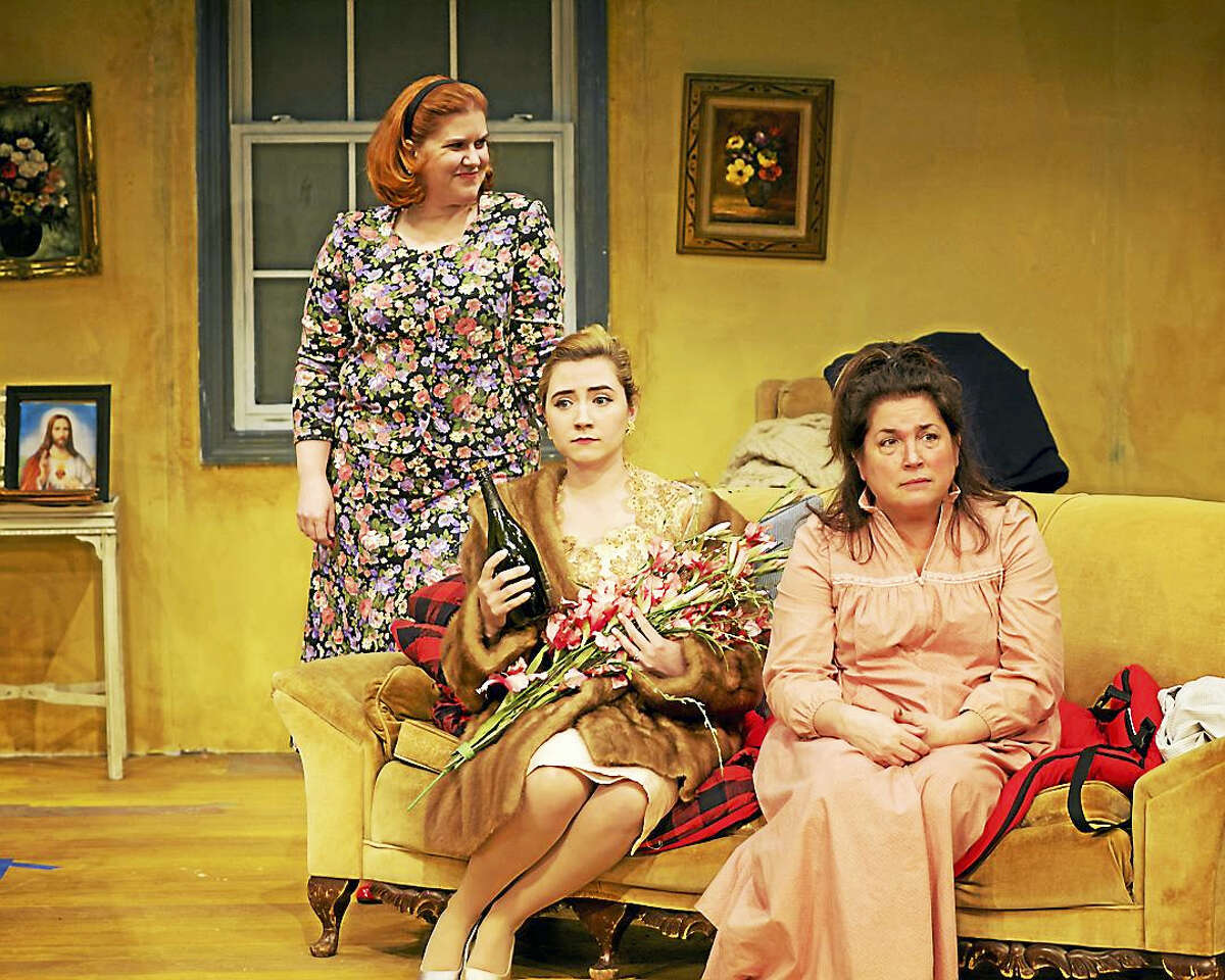 """Stacy-Lee Frome as Bunny, Erin Shaughnessy as Corinna, and Keli Solomon as Bananas in """"The House of Blue Leaves."""""""