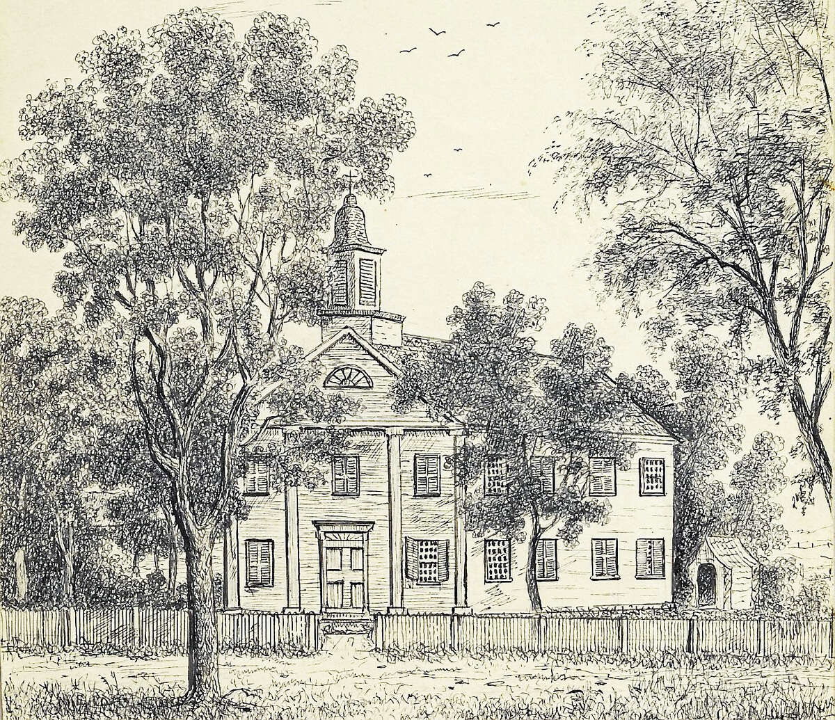 Contributed photoThe Litchfield Female Academy building, a sketch, part of the Litchfield Historical Society collection and included in its new exhibition opening in April.