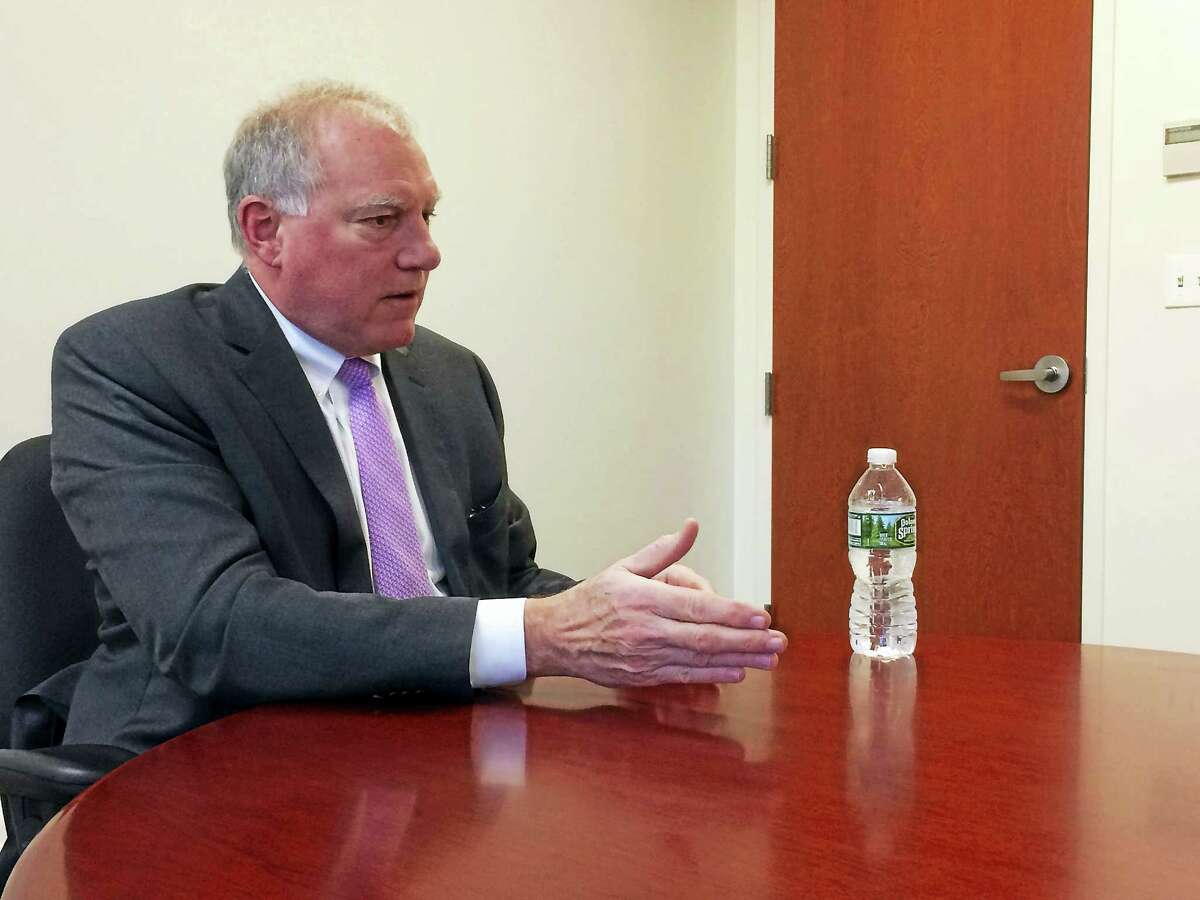 Attorney General George Jepsen talks with the New Haven Register editorial board recently.