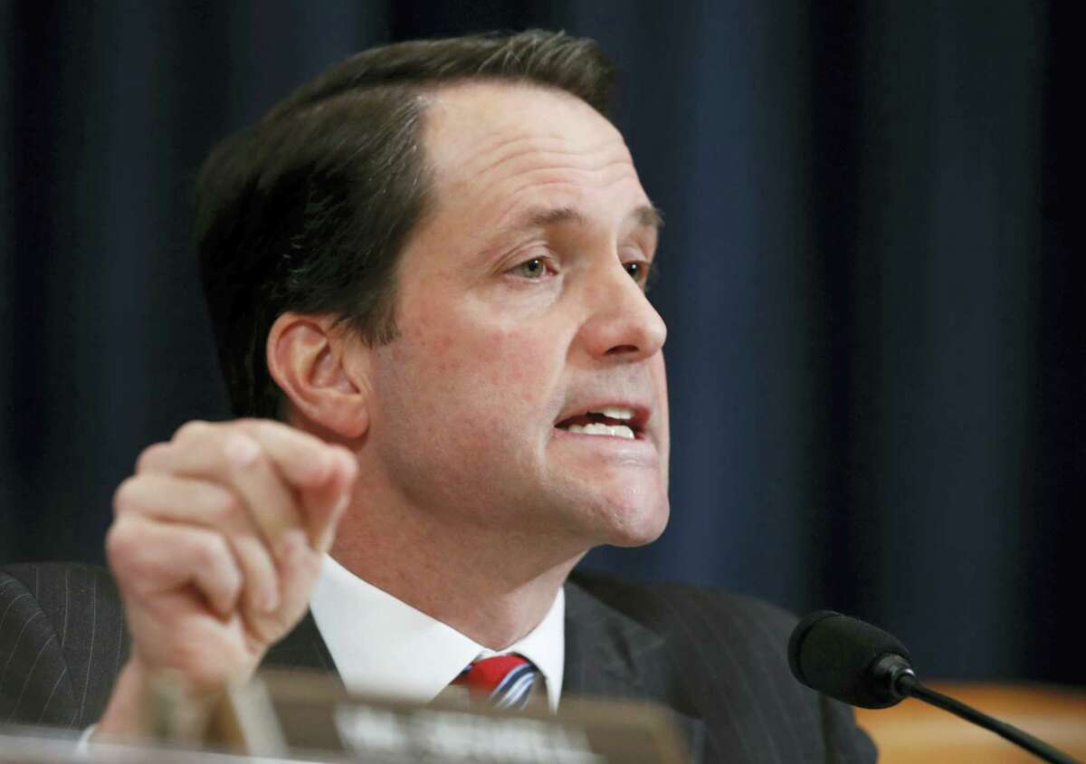 In this photo, House Intelligence Committee member Rep. Jim Himes, D-Conn., questions FBI Director James Comey and National Security Agency Director Michael Rogers on Capitol Hill in Washington, during the committee's hearing regarding allegations of Russian interference in the 2016 U.S. presidential election. For the third year in a row, the Fairfield County Democrat has proposed perennial legislation that commemorates the Feb. 12 birth date of Charles Darwin. The late British naturalist developed the scientific theory of evolution by natural selection.