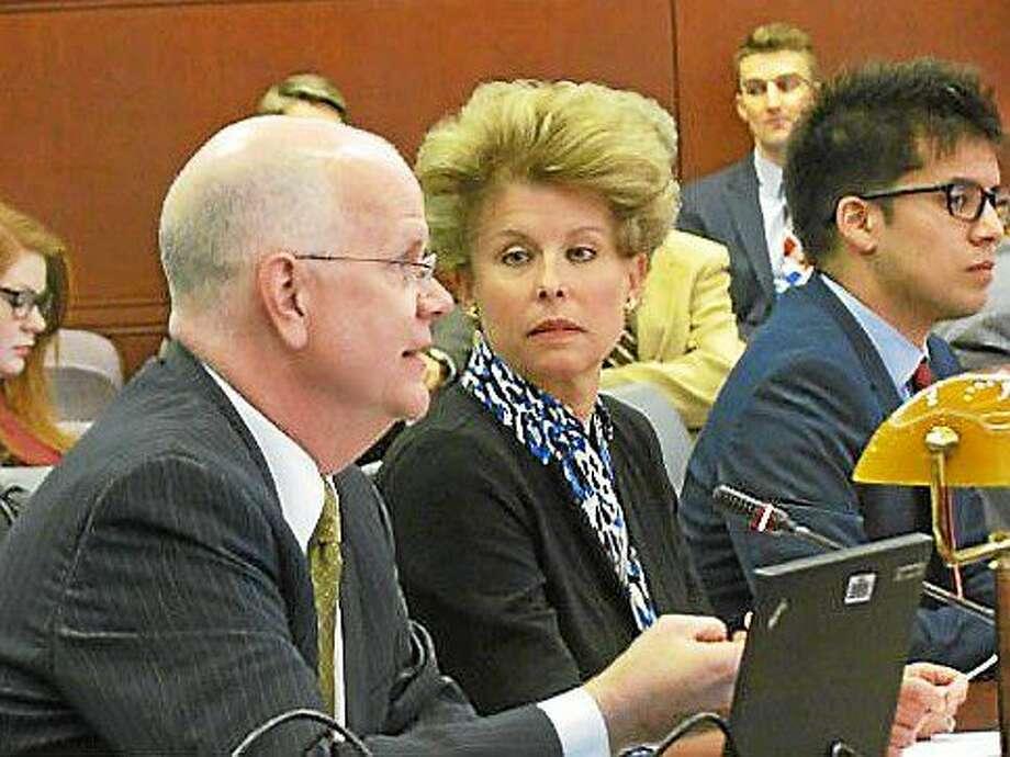 State Comptroller Kevin Lembo and Carol Platt Liebau of the Yankee Institute for Public Policy. Photo: Elizabeth Regan — CTNewsJunkie
