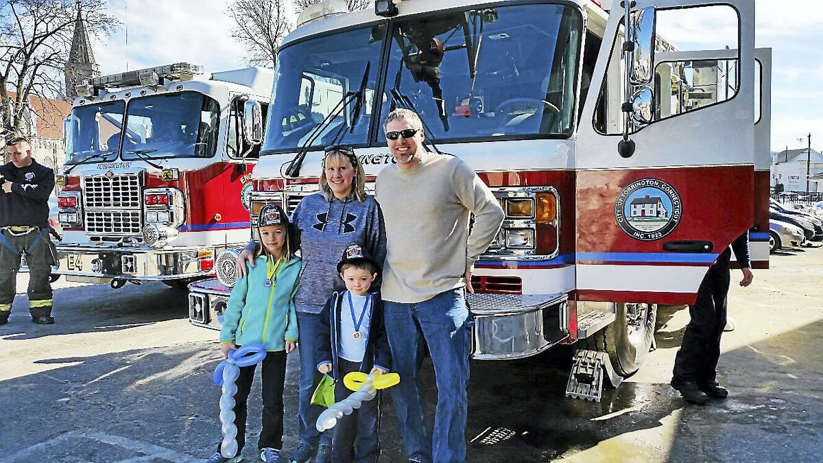 The Pleil family of Harwinton received a tour of one of Torrington Fire Department's fire trucks at the KidsPlay Children's Museum event.
