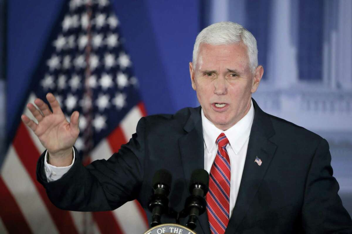 In this Jan. 26, 2017, file photo, Vice President Mike Pence speaks at the Republican congressional retreat in Philadelphia. Pence is making his debut on the world stage with a trip to Germany and Belgium designed to reassure European and Mideast partners about U.S. foreign policy.