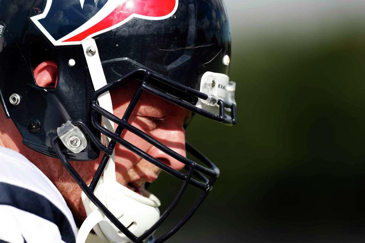 Houston Texans defensive end J.J. Watt is shown on the practice field during training camp at The Methodist Training Center on Tuesday, Aug. 22, 2017, in Houston. ( Brett Coomer / Houston Chronicle )
