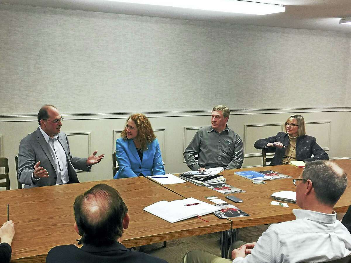 U.S. Rep. Elizabeth Esty met with members of the local business community Monday in Thomaston. Owners and town officials discussed numerous concerns with Esty, including taxation, the Affordable Care Act, and the cost of running a business in the state.