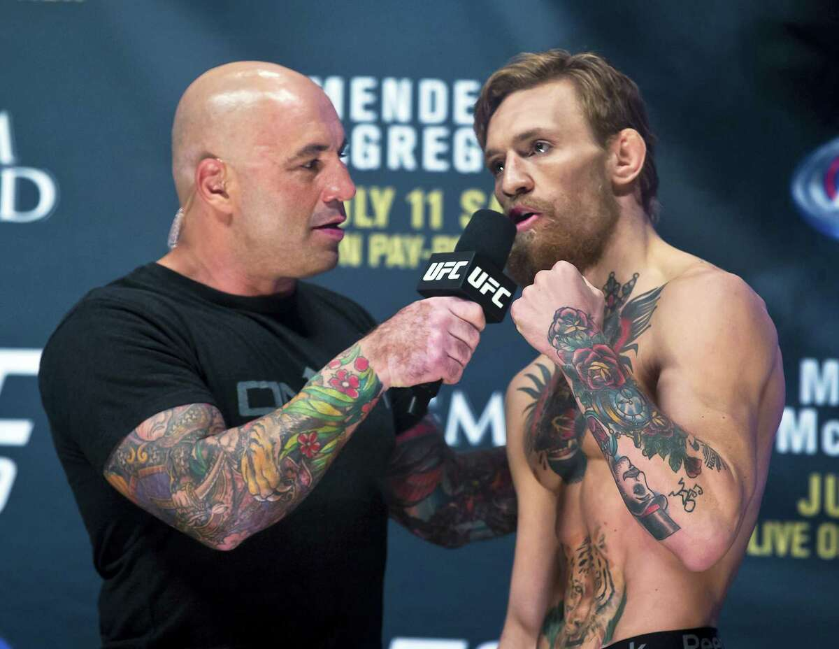 Joe Rogan interviews Conor McGregor during the weigh-ins for Saturday's UFC 189 mixed martial arts bouts on July 10, 2015 in Las Vegas.