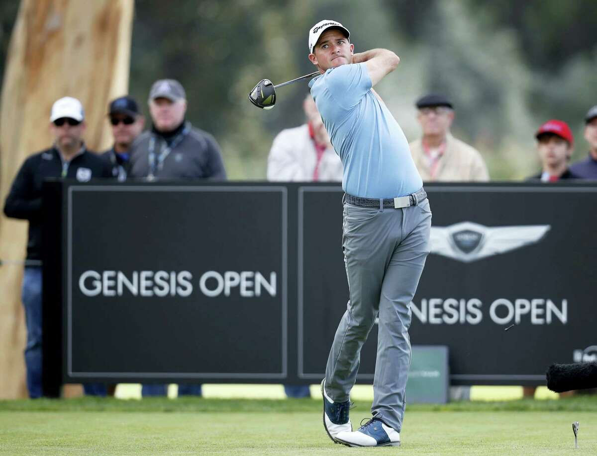 Sam Saunders tees off on the ninth hole during the first round of the Genesis Open at Riviera Country Club on Thursday in Los Angeles.