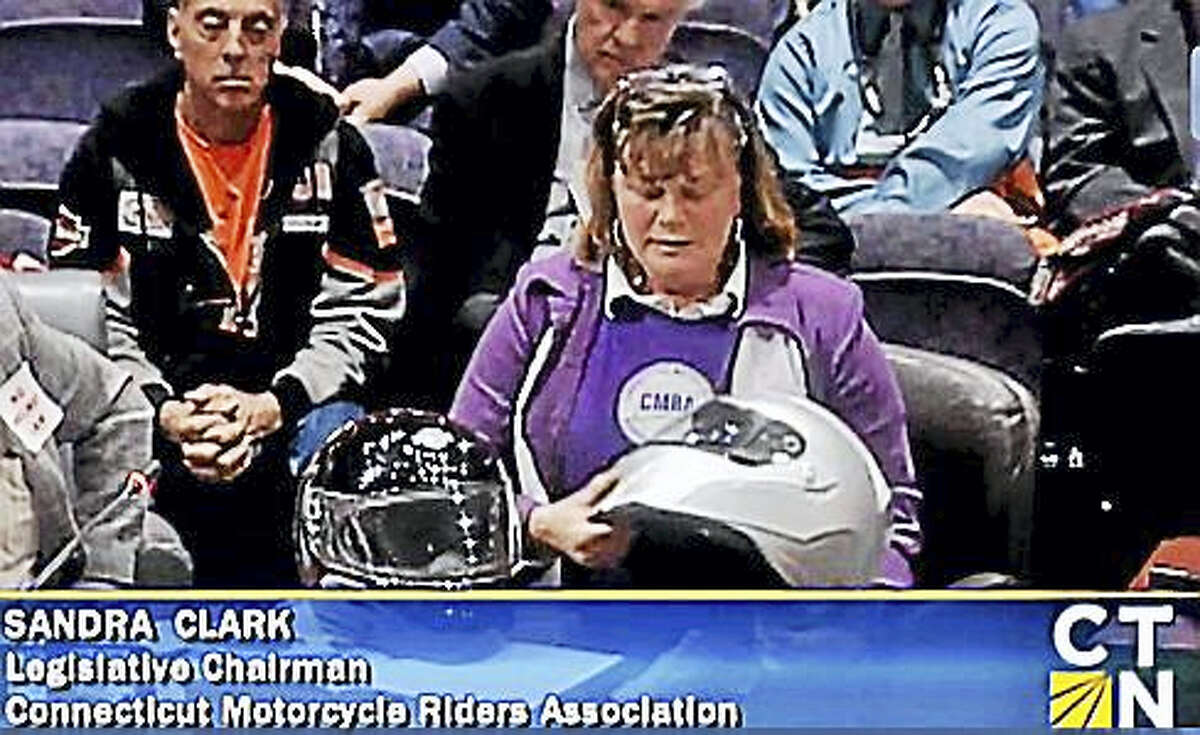 Sandra Clark, of the Connecticut Motorcycle Riders Association, testifies before the Transportation Committee on Wednesday.