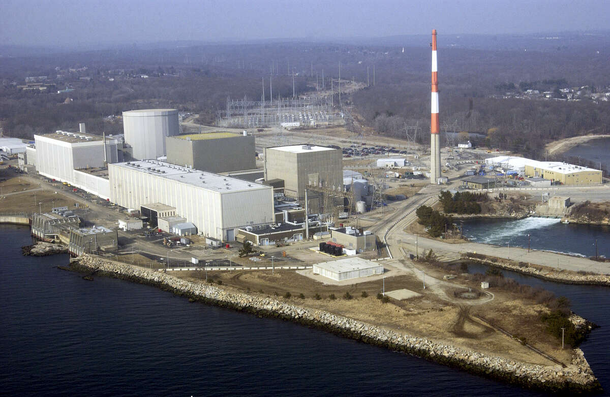 This aerial photo shows the Millstone nuclear power facility in Waterford, Conn.