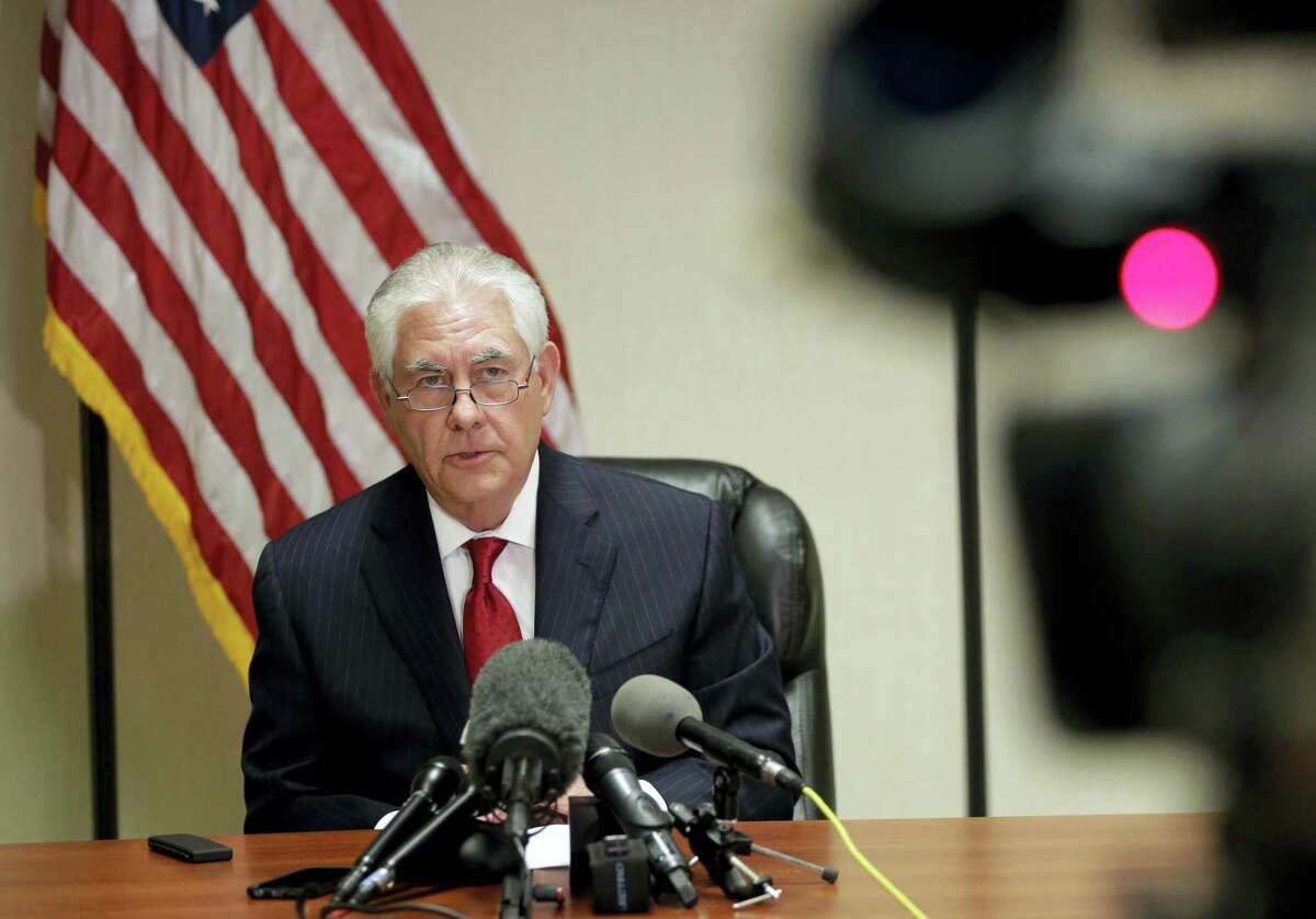 Secretary of State Rex Tillerson speaks during a news conference at the Palm Beach International Airport in West Palm Beach, Fla. on Thursday, April 6, 2017.