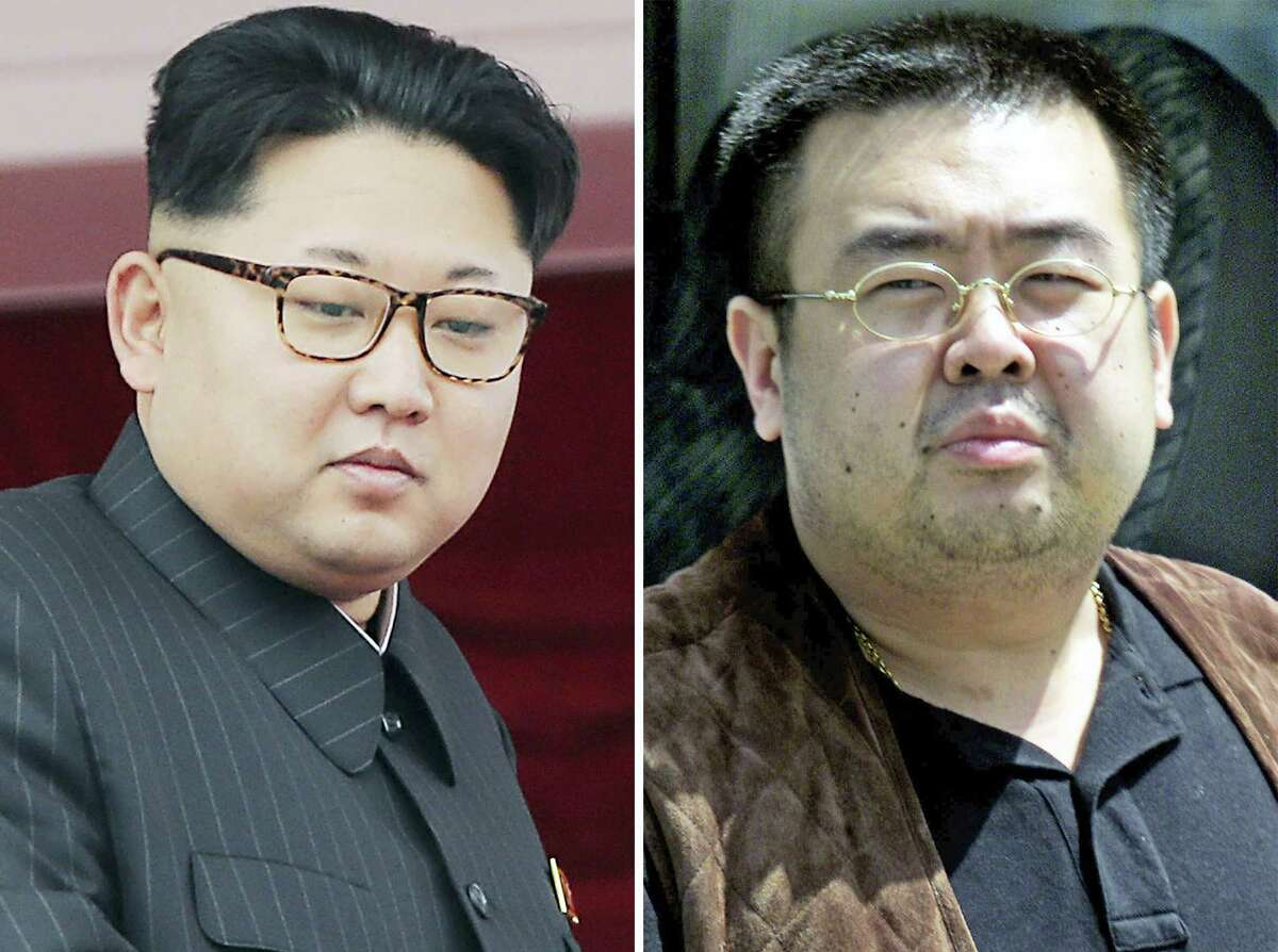 This combination of file photos shows North Korean leader Kim Jong Un, left, on May 10, 2016, in Pyongyang, North Korea, and Kim Jong Nam, right, exiled half brother of Kim Jong Un, in Narita, Japan, on May 4, 2001. Kim Jong Nam, 46, was targeted Monday, Feb. 13, 2017, at the Kuala Lumpur International Airport, Malaysia, and later died on the way to the hospital according to a Malaysian government official.
