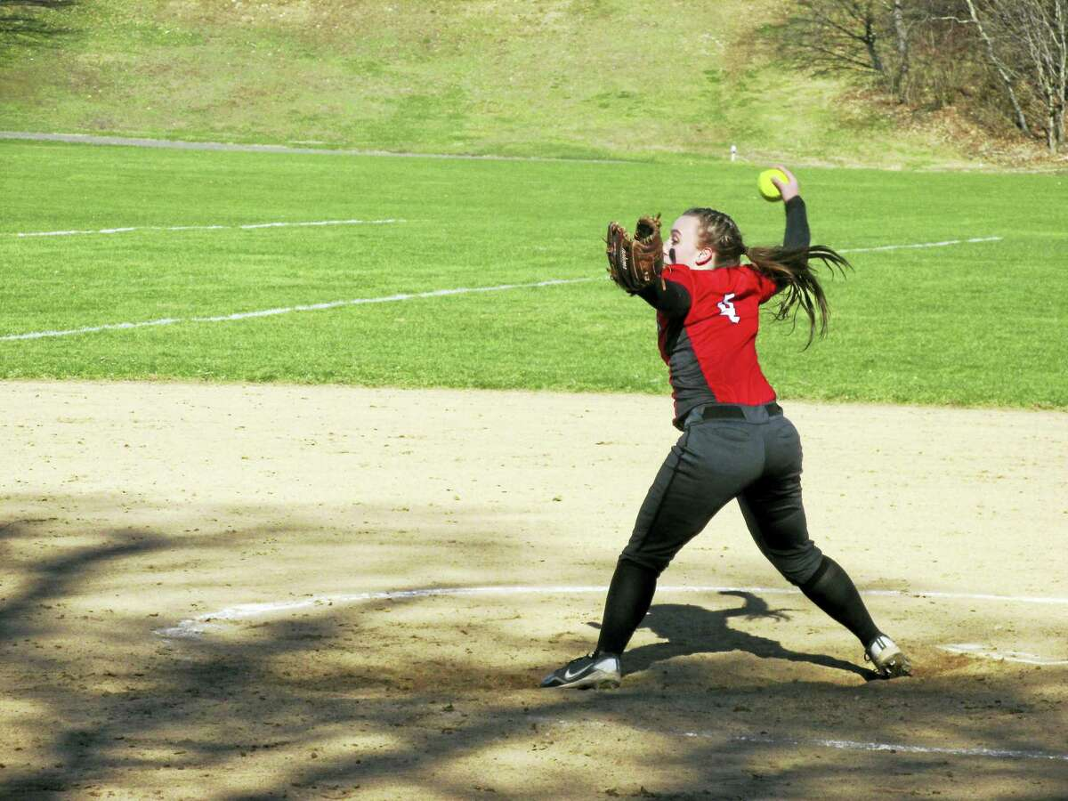 Northwestern pitcher Kate Matava held the Highlander lead through two late-inning jams in a win at Nonnewaug High School on Saturday.