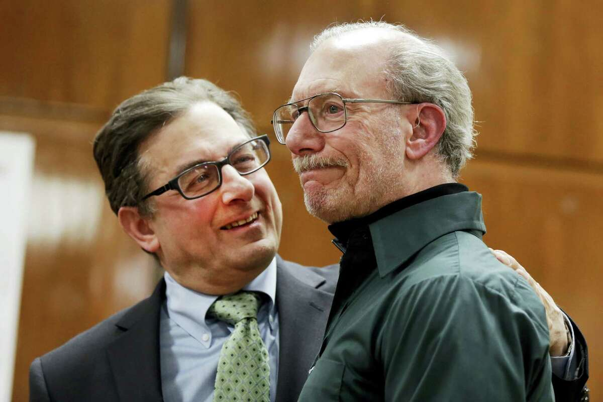 Stan Patz, right, father of 6-year-old Etan Patz who disappeared on the way to the school bus stop 38 years ago, reacts after a news conference with Assistant District Attorney Joel Seidemann, following the second trial of Pedro Hernandez, whos convicted of killing the boy, Tuesday, Feb. 14, 2017, in New York's Manhattan Supreme Court.