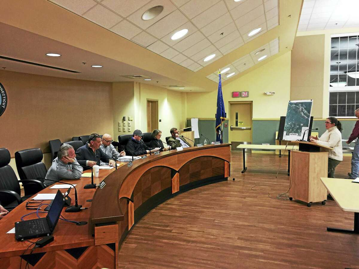 Ben Lambert - The Register CitizenZoning & Wetlands Enforcement Officer Rista Malanca speaks before the Planning and Zoning Commission Wednesday.