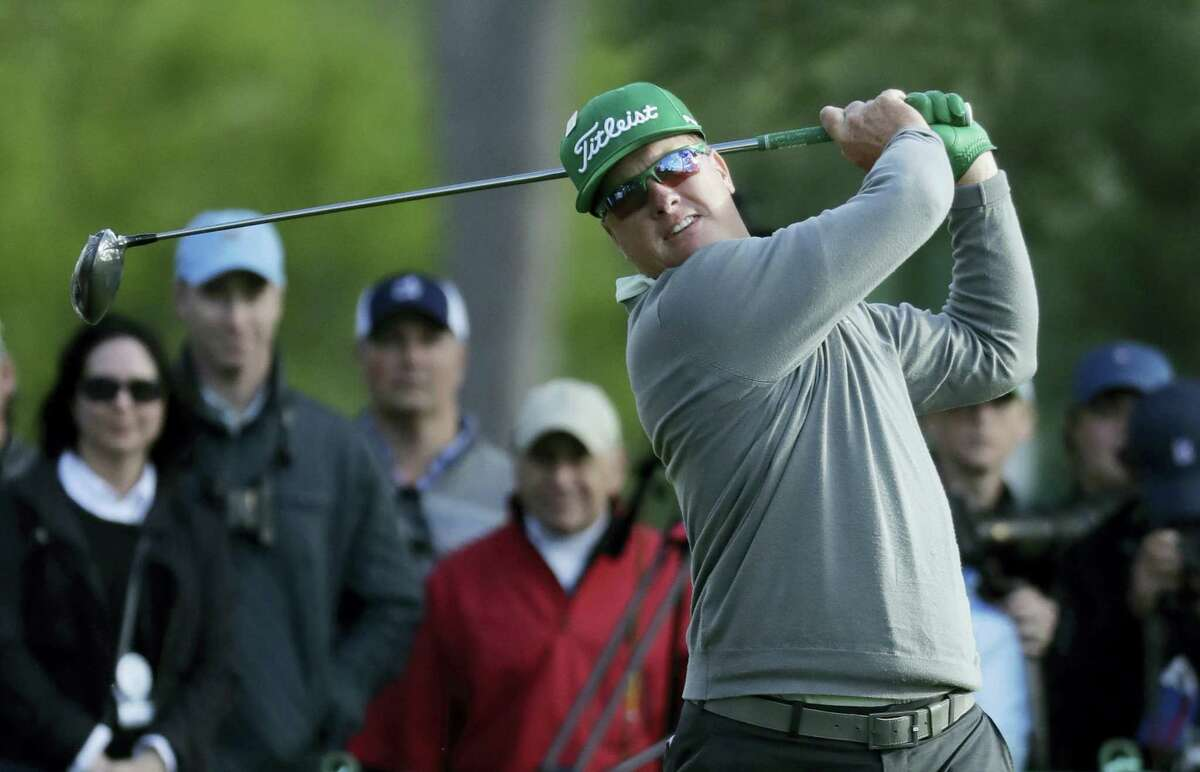 Charley Hoffman hits a drive on the 18th hole during the first round of the Masters Thursday.