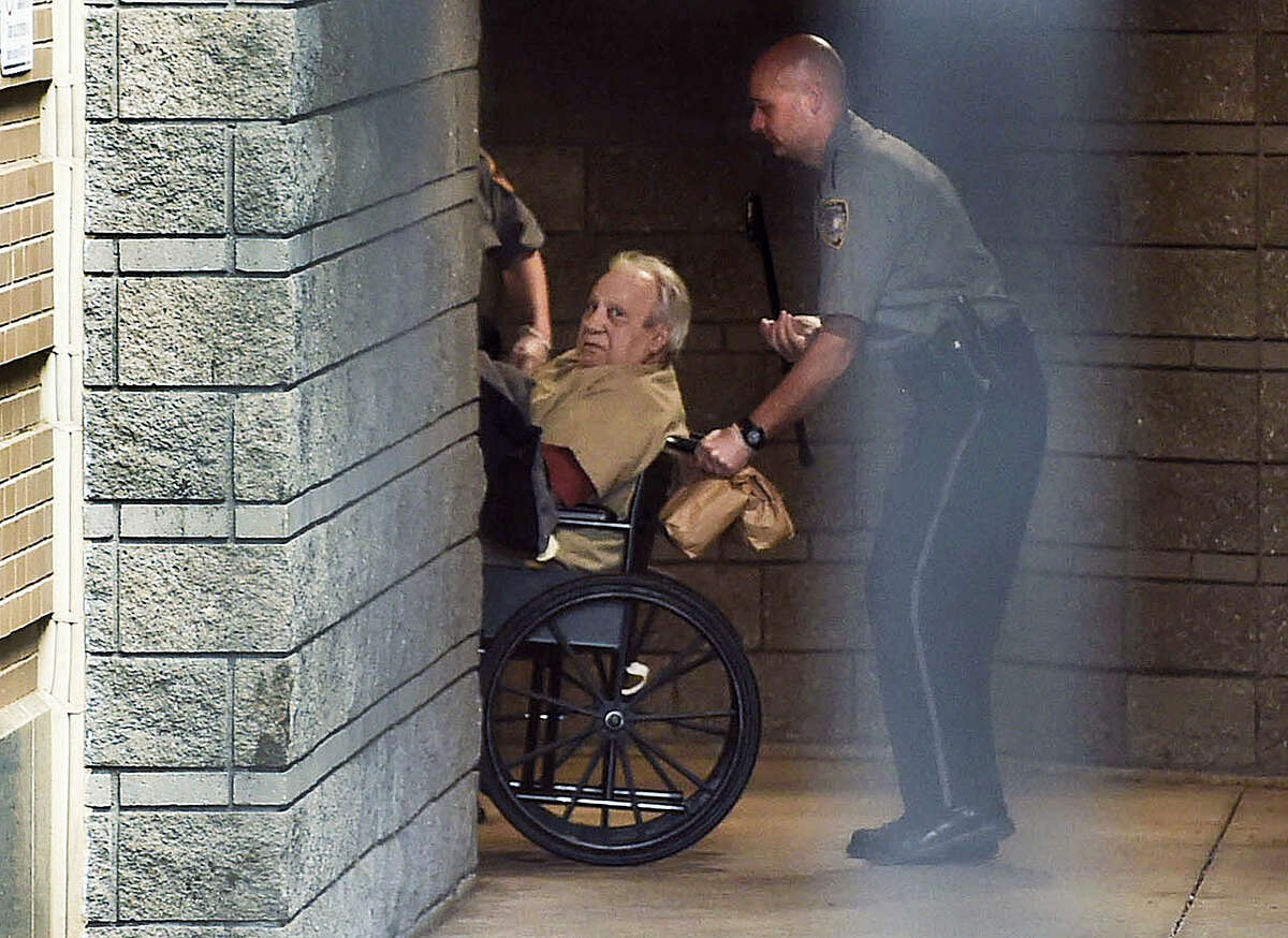 In this April 20, 2015, file photo, Robert Gentile is brought into the federal courthouse in a wheelchair for a hearing in Hartford, Conn. Gentile, who authorities say is the last surviving person of interest in the 1990 art heist from the Isabella Stewart Gardner Museum in Boston, is scheduled to plead guilty to unrelated weapons charges, Thursday, April 6, 2017, in federal court in Hartford.