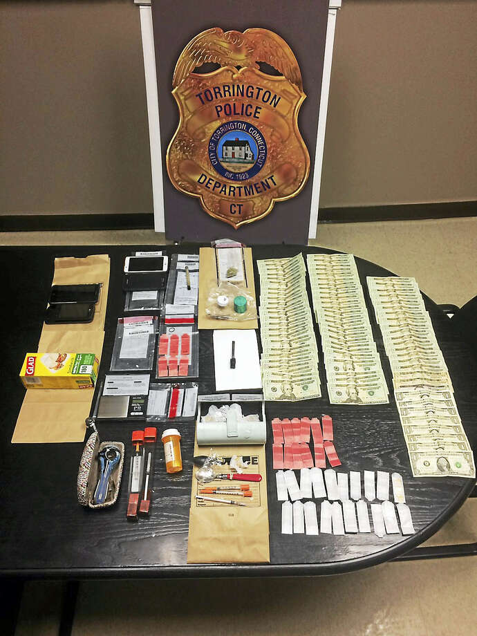 Police recovered a quantity of heroin, crack cocaine, marijuana, paraphernalia and cash from a room at the Lakeside Motel Monday. Photo: Torrington Police Department