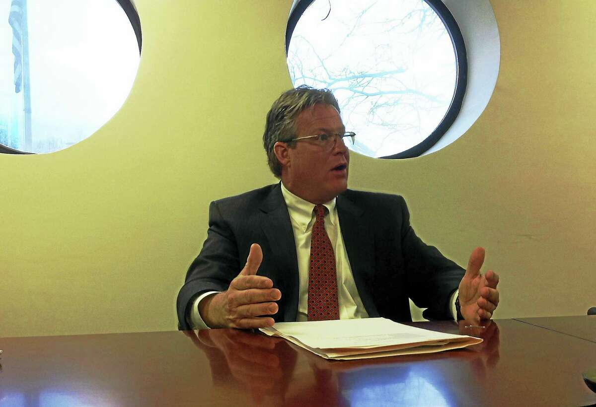 State Sen. Ted Kennedy Jr., D-Branford, speaks to the New Haven Register Editorial Board.