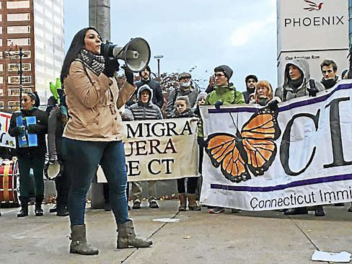 Tashi Sanchez-Llaury speaks at an immigration rally last November in Hartford.