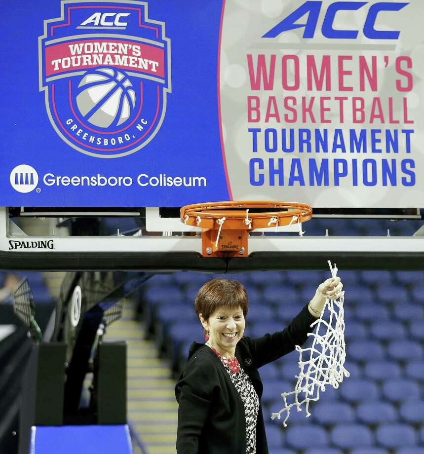 """In this March 8, 2015 photo, Notre Dame head coach Muffet McGraw celebrates after an NCAA college basketball game against Florida State in the championship of the Atlantic Coast Conference tournament in Greensboro, N.C. The NCAA says it will consider North Carolina as a host for championship events again after the state rolled back a law that limited protections for LGBT people. In a statement on April 4, 2017, the governing body said its Board of Governors had reviewed moves to repeal repealed the so-called """"bathroom bill"""" and replace it with a compromise law. Photo: AP Photo — Chuck Burton, File  / Copyright 2016 The Associated Press. All rights reserved."""