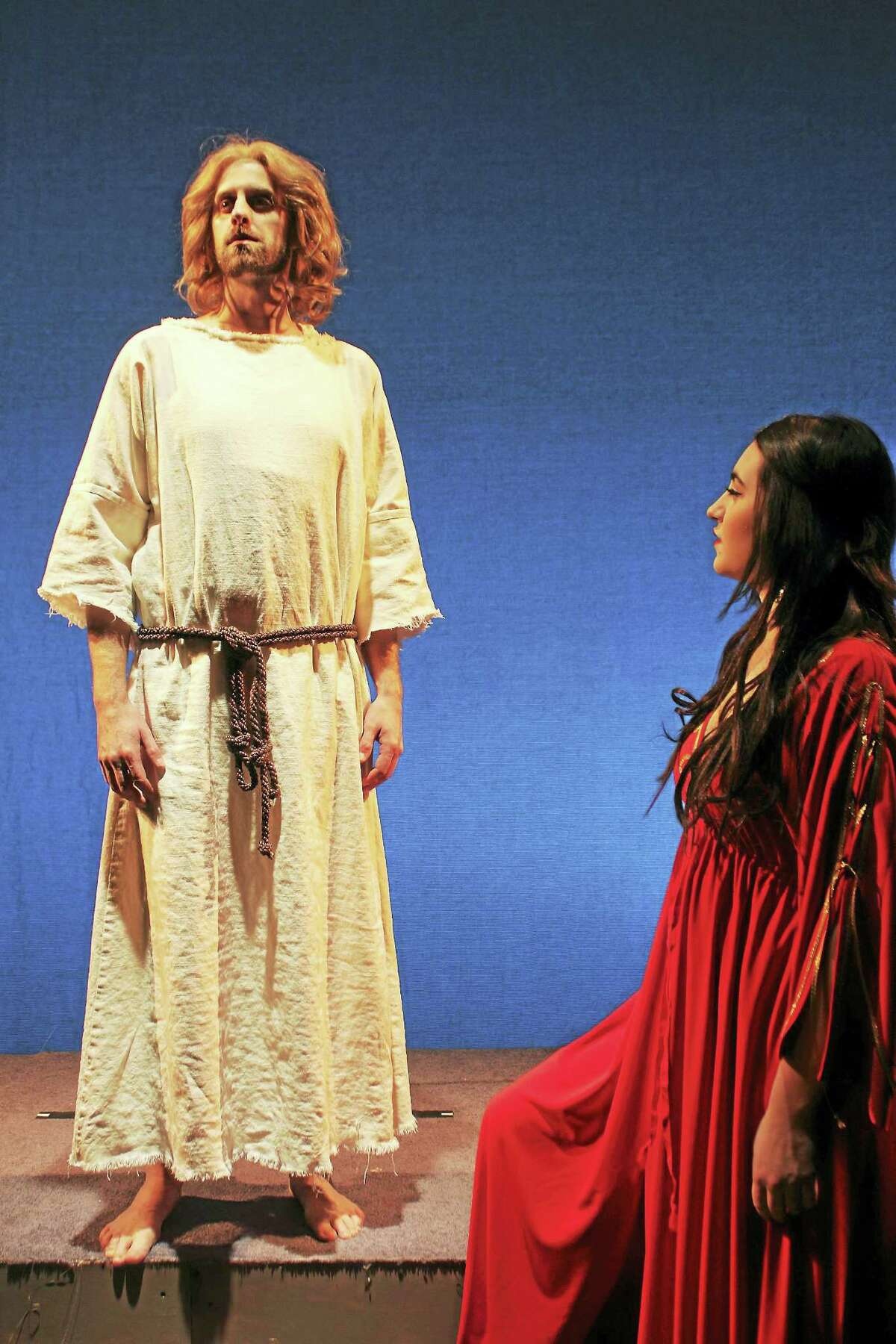 """Jesus, played by Aaron LaVigne, and Mary Magdalene, played by Chelsey Lynn Alfredo, appear in Seven Angels Theatre's production of """"Jesus Christ Superstar."""""""