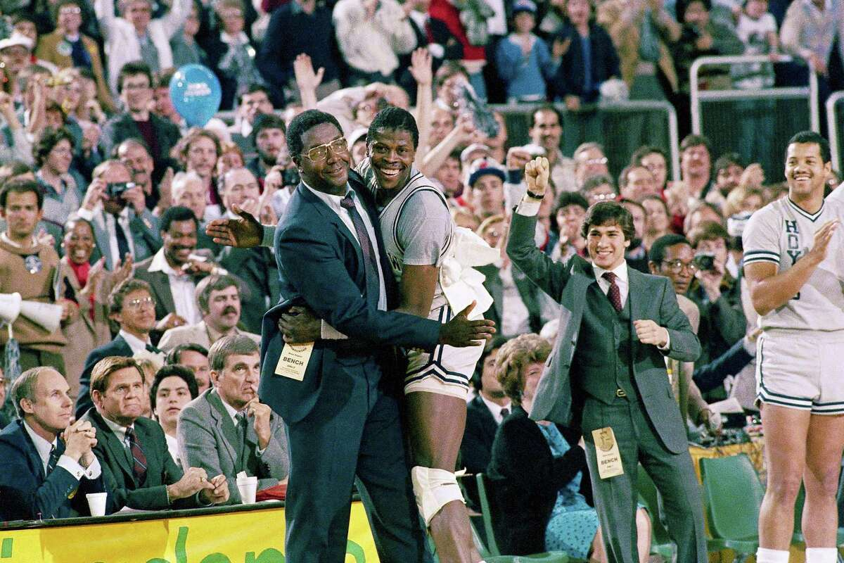 Former Georgetown head coach John Thompson, left, and Patrick Ewing.