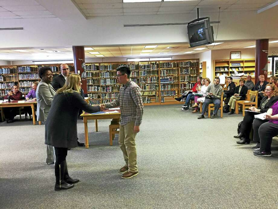 Torrington music students were recognized at the March 22 meeting of the Board of Education for their participation in music festivals. Above, Pedrocarlo Otarola. Photo: Ben Lambert — The Register Citizen