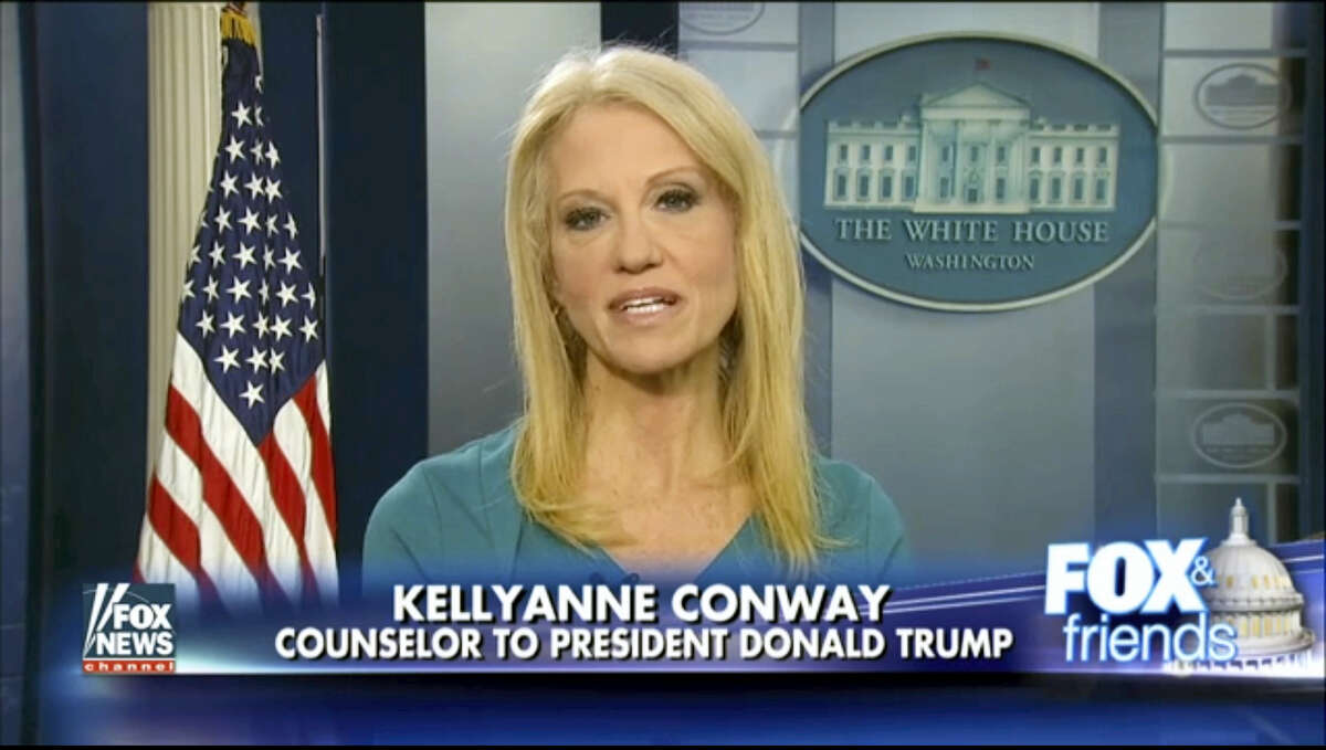 """FOX NEWS via AP This frame grab from video provided by Fox News shows White House adviser Kellyanne during her interview with Fox News Fox and Friends, Thursday, Feb. 9, 2017, in the briefing room of the White House in Washington. Conway defended Ivanka Trump's fashion company, telling Fox News that Trump is a """"successful businesswoman"""" and people should give the company their business."""