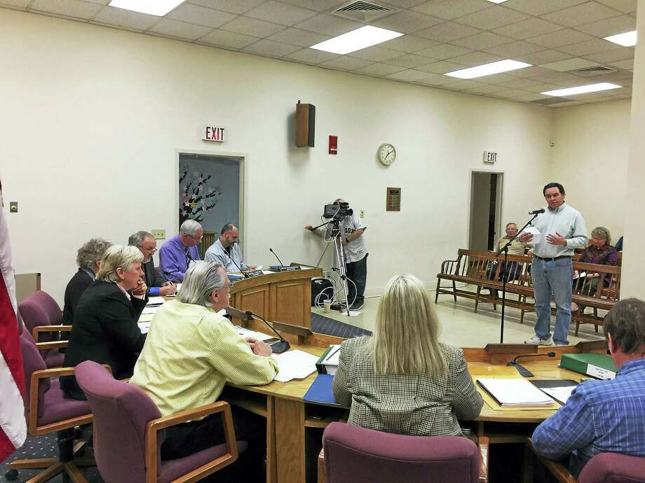 The Winsted Board of Selectmen held a hearing on the proposed town budget Monday. Above, Jerry Martinez addresses the board. Photo: Ben Lambert — The Register Citizen