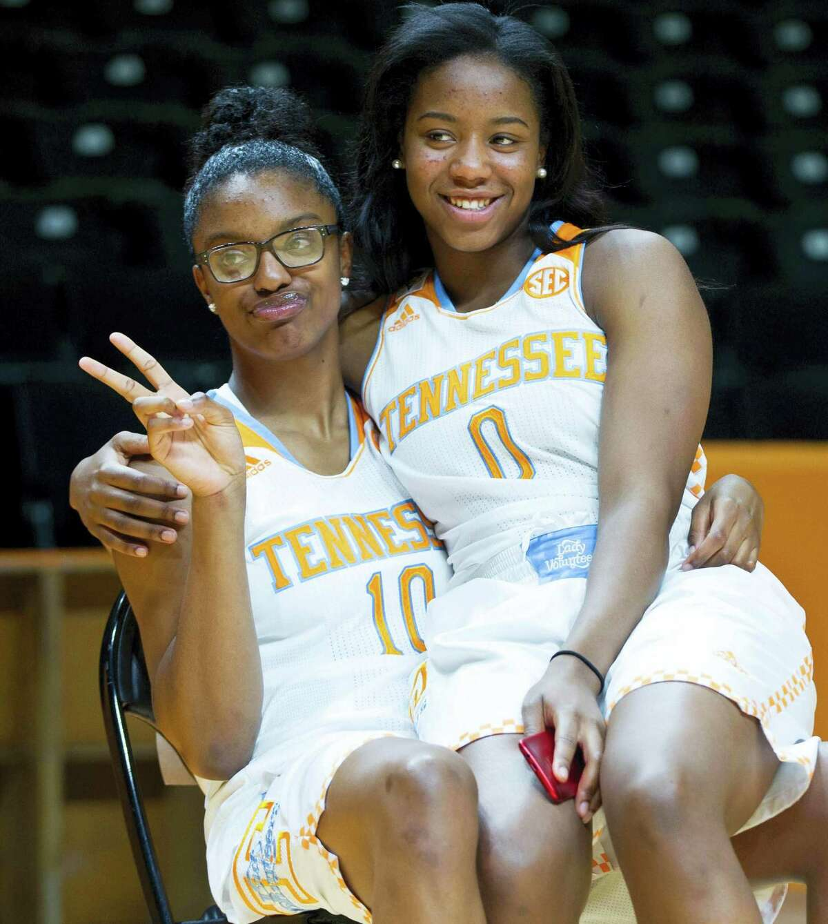 In this Oct. 29, 2014 photo, Tennessee's Diamond DeShields, left, and Jordan Reynolds pose during NCAA college basketball media dayin Knoxville, Tenn. After sitting out this past season as a transfer from North Carolina, DeShields is about to make up for lost time while adapting to her new teammates.
