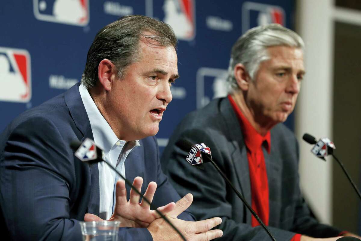 Red Sox manager John Farrell, left, and president of baseball operations Dave Dombrowski answer questions from the media.