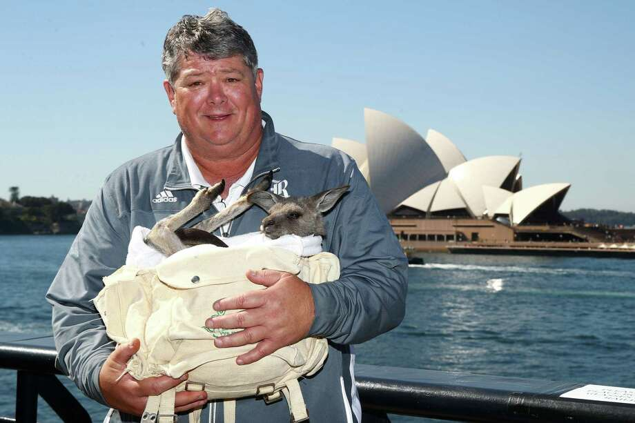 """PHOTOS: Rice football players in AustraliaRice coach David Bailiff poses with a kangaroo named """"Archer"""" while in Australia this week.Browse through the photos of Rice's trip Down Under. Photo: Mark Kolbe, Staff / Internal"""