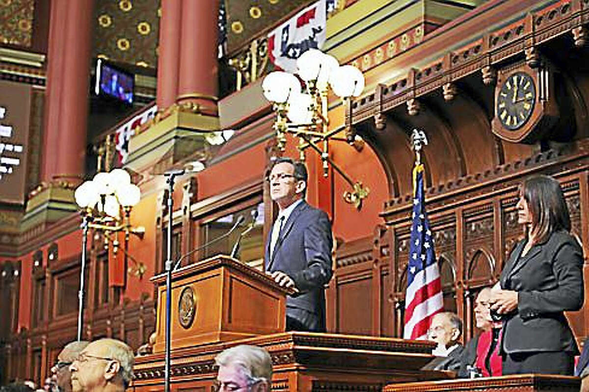 Gov. Dannel P. Malloy gives his budget address Wednesday.