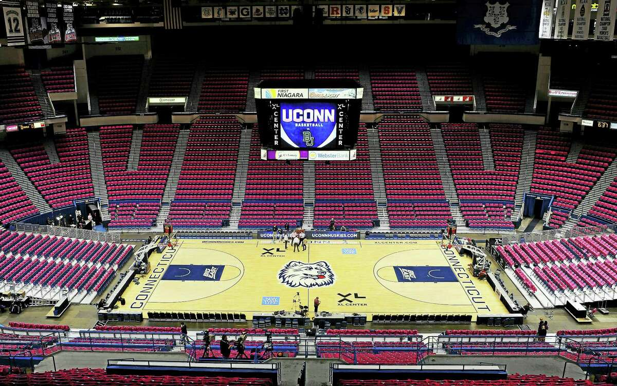 The XL Center arena is seen before an NCAA college basketball game between UConn and Baylor in Hartford in 2013.
