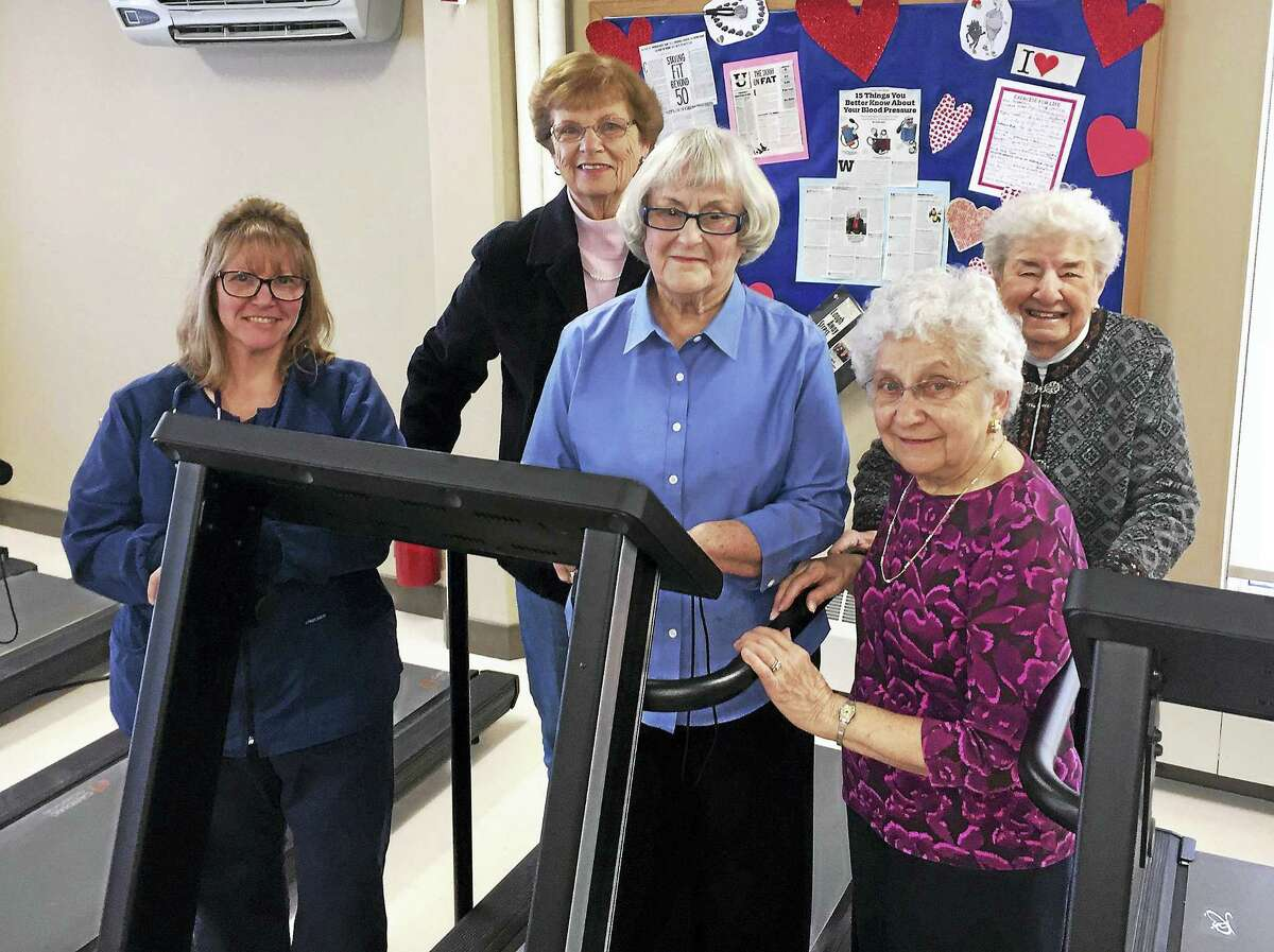 From left, CHH Cardiac Rehab Nurse Lynn Zarwycki thanks Winsted Auxiliary For Community Health Members Milly Hudak, Noreen Lampognana, Helen Dombrowski, and Adelaide Zecchin for the donation and support of the CHH Medical and Sleep Centers in Winsted.