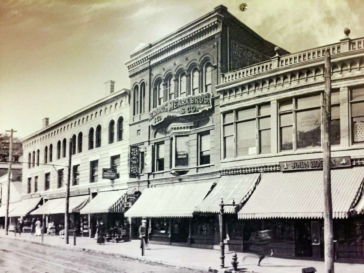 Images of Main and Water Street from about 1913, put up as part of a planned display from the Arts & Culture Commission in Torrington.