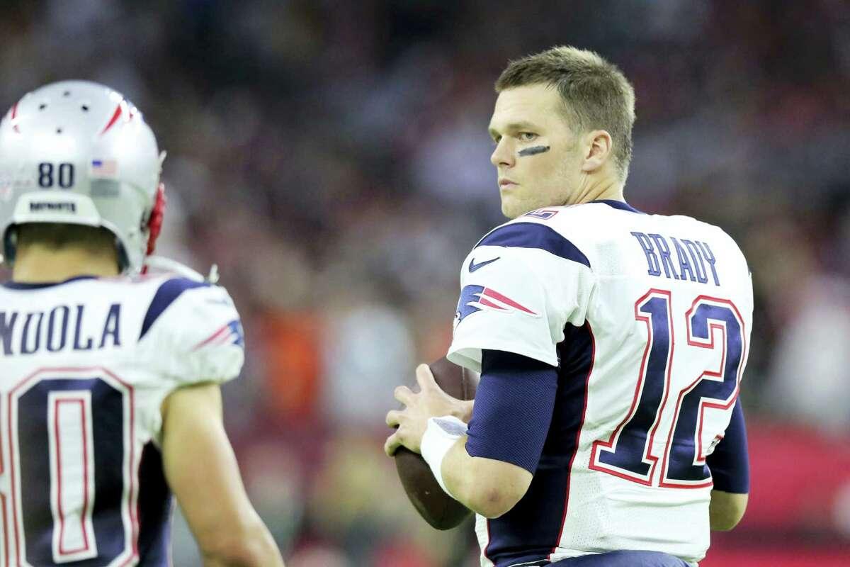 Patriots quarterback Tom Brady in his No. 12 game jersey.